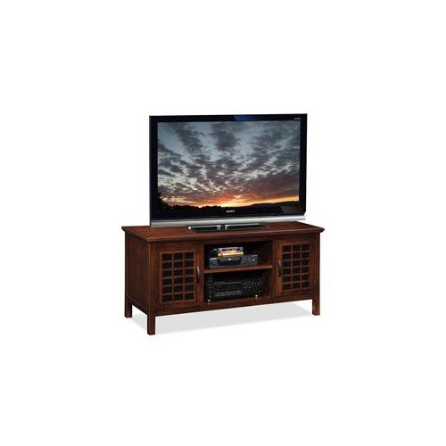 Leick 81170 Grid Black Glass 50-in TV Stand by Brand New
