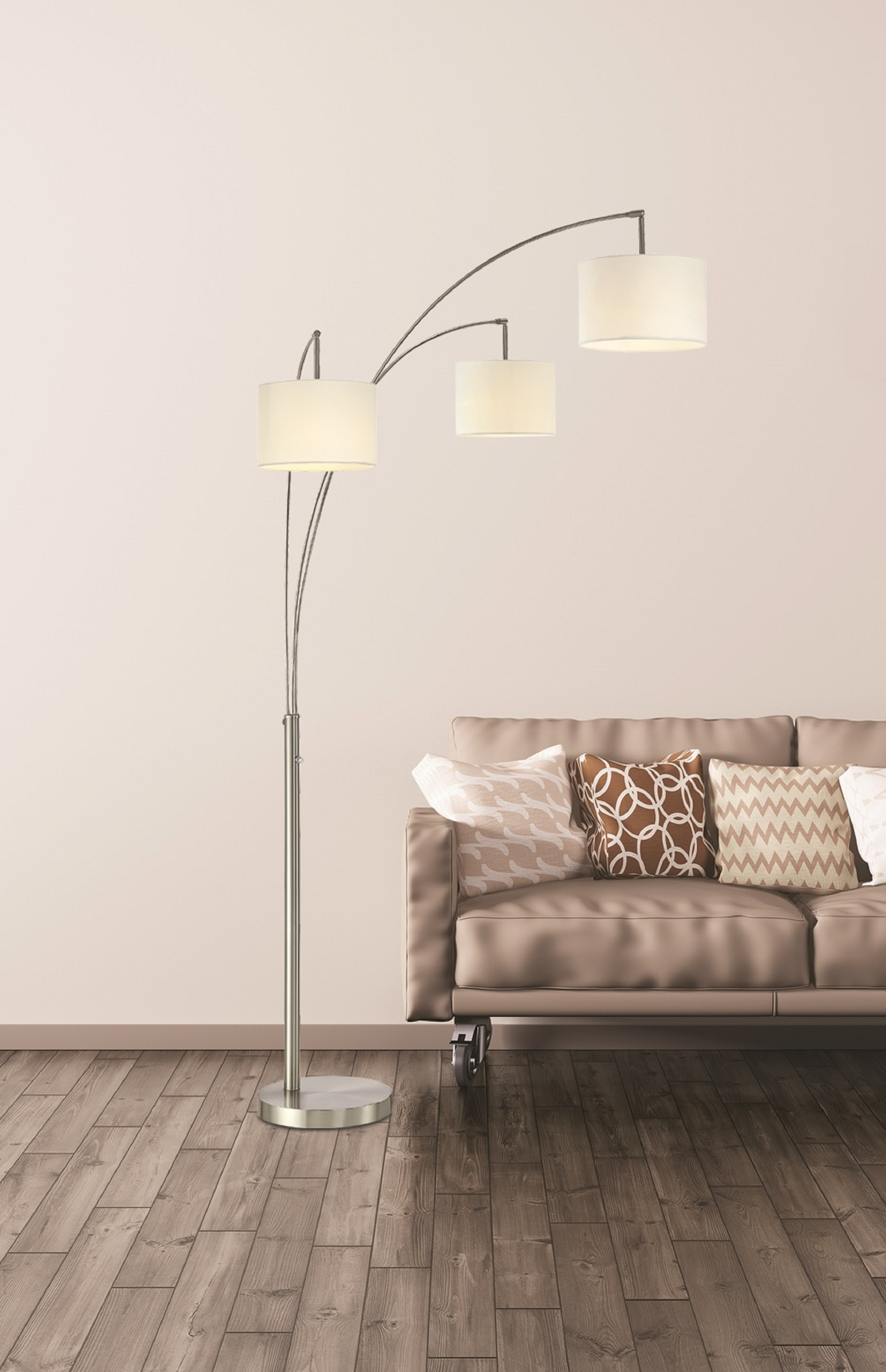 Artiva Usa Lumiere Modern Led 3 Arched Brushed Steel 80 Inch Floor Lamp With Dimmer Walmart Com Walmart Com