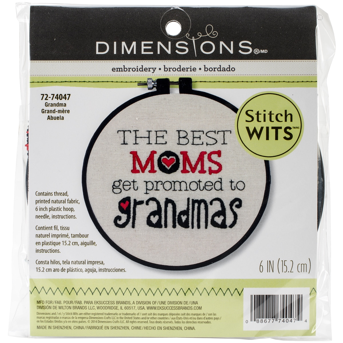 """Stitch Wits Grandma Wit Mini Stamped Embroidery Kit, 6"""" Round, Stitched In Thread"""