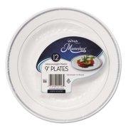"WNA Masterpiece Plastic Dinnerware, White/Silver, 9"", 10/Pack RSMP91210WSLV"