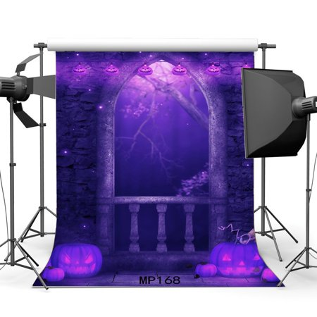 HelloDecor Polyster 5x7ft Halloween Backdrop Gothic Hallowmas Horror Night Pumpkin Lamps Stone Arch Door Shining Moon Vintage Brick Floor Photography Background Adults Masquerade Photo Studio (Universal Studios Halloween Horror Nights Discount Tickets)
