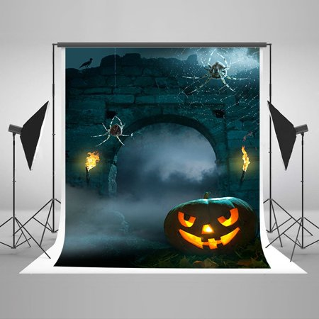 MOHome Polyster 5x7ft Halloween Photo Backdrop Spider Squash Photography Background Old Wall Photo Background Studio Prop (Old Halloween Photos)