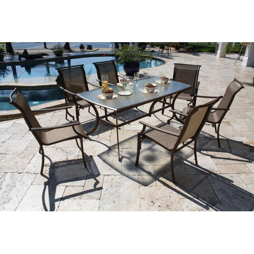 Hospitality Rattan Chub Cay 42 x 72 in. Rectangular Patio Dining Set with Tempered Glass - Dark Bronze - Seats 6