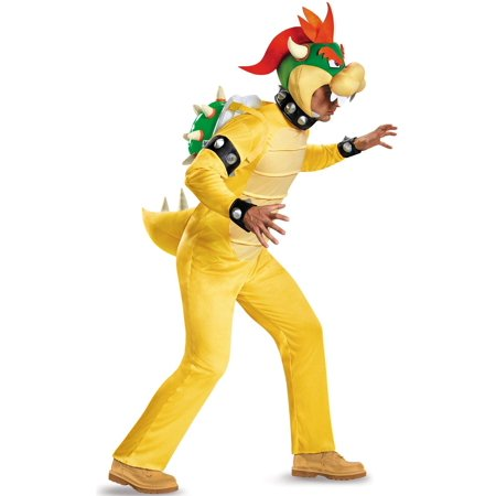 Super Mario: Deluxe Bowser Men's Adult Halloween Costume, XL - Halloween Costumes Mario