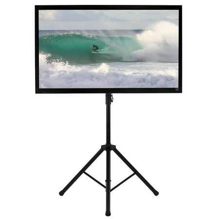 61 Inch Screen Support - Mount-It! LCD Flat Panel TV Tripod, Portable TV Stand Fits LCD LED Flat Screen TV sizes 32-70 inch, Adjustable Height Pole, Supports up to 77 lbs and VESA 600x400 (MI-874)
