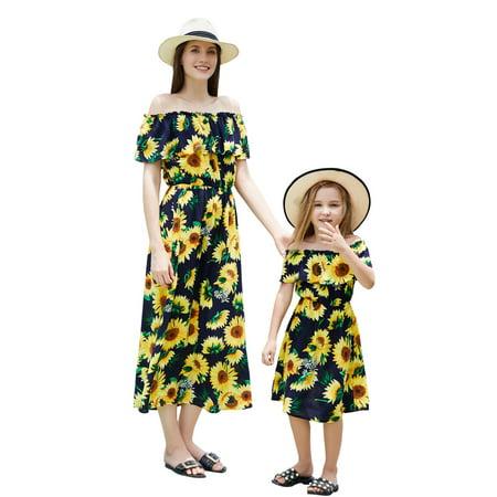 Family Matching Clothes Mother Daughter Parent-Child Off Shoulder Short sleeve Sunflower Floral Falbala Maxi Long Dress Womens Girls Summer Beach Dress - Girls Long Maxi Dress