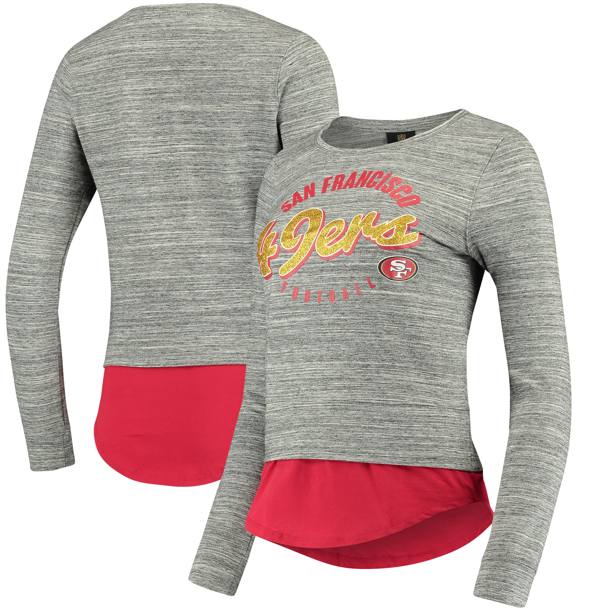San Francisco 49ers Women's Juniors Shirt Tail Layered Long Sleeve T-Shirt - Heathered Gray/Scarlet