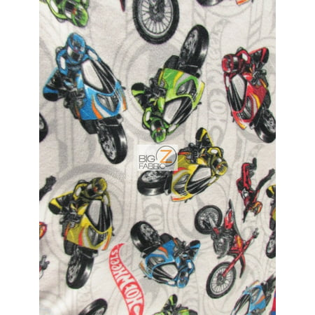 David Textiles Fleece Printed Fabric / Hot Wheels Motorcycles / Sold By The Yard](Hot Wheels Fabric)