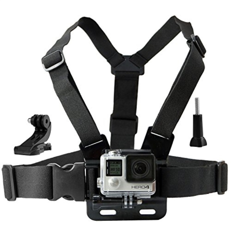 Chest Mount Harness for Gopro Hero 6, 5, Black, Session, Hero 4, Session, Black, Silver, Hero+ LCD, 3+, 3, 2, 1 – Fully Adjustile Chest Strap - Also Includes J-Hook/Thumbscrew/Storage Bag