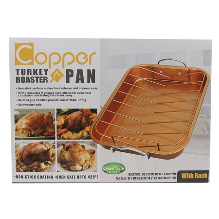 Non Stick French Roaster (Home Innovation 2-Piece Copper Turkey Roaster Pan Set Non Stick )