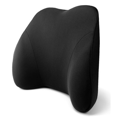 Tektrum Back Support Orthopedic Lumbar Pillow for Car Seat, Home/Office Chair, Sofa, Travel, Backrest - 3D Design Fit Body Curve, Washable Cover - Best for Lower Back Pain Relief - Black (QFC002-BLK)