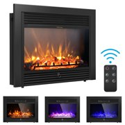 """Costway 28.5"""" Fireplace Electric Embedded Insert Heater Glass Log Flame Remote"""