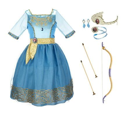 Disney Pixar Brave Merida Costume - Dress, Jewelry, and Bow - Brave Merida Costume