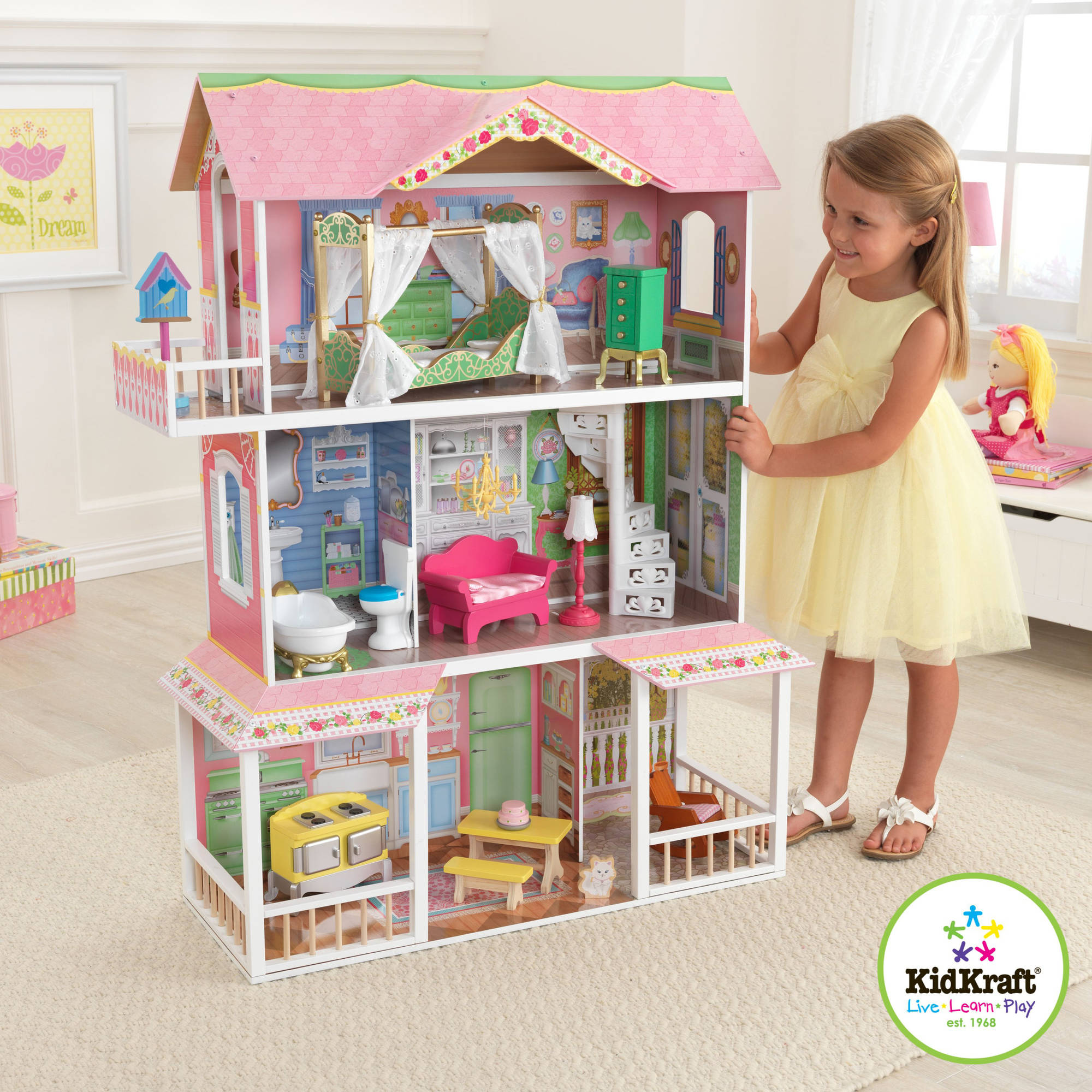 KidKraft Sweet Savannah Wooden Dollhouse with 13 Pieces of Furniture by KidKraft