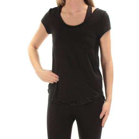 CALVIN KLEIN Womens New 1496 Black Jewel Neck Short Sleeve Top XS B+B