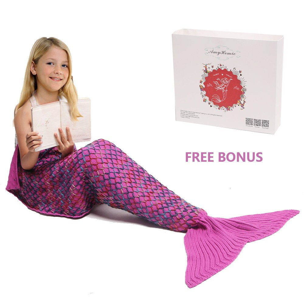Click here to buy AmyHomie Mermaid Tail Blanket Knitted Mermaid Blanket for Kids, Snuggle All Seasons....