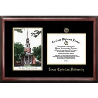 "Texas Christian University 8.5"" x 11"" Gold Embossed Diploma Frame with Campus Images Lithograph"