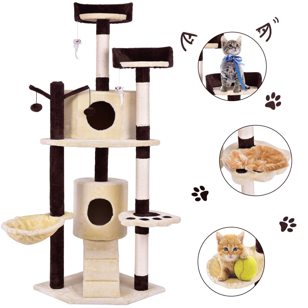 Gymax 63'' Cat Tree Pet Play House Tower Condo Bed Scratching Post w Hanging Toy Ladder by Gymax