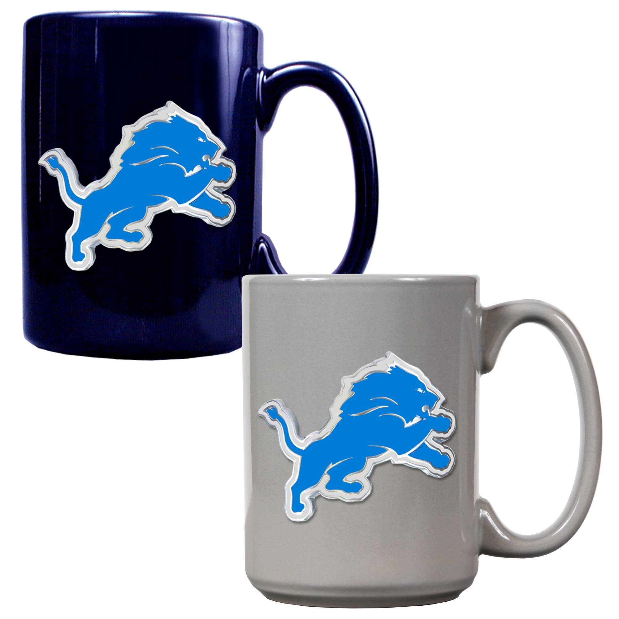 Detroit Lions 15oz. Coffee Mug Set - Blue/Gray - No Size