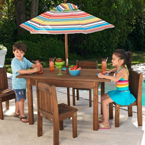 KidKraft Outdoor Table and 4 Stacking Chairs with Striped Umbrella - 46
