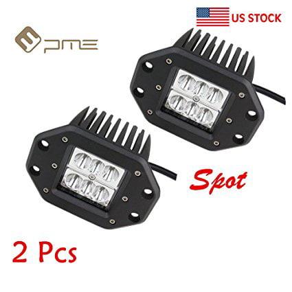 2 pcs 18W 3x3 Dually Flush Mount CREE LED Light Lamps Dually D2 Off 4x4 4wd Jeep Truck F150 Tacoma Bumper 3' Spot (18W4.7inch(2pcs)) ()