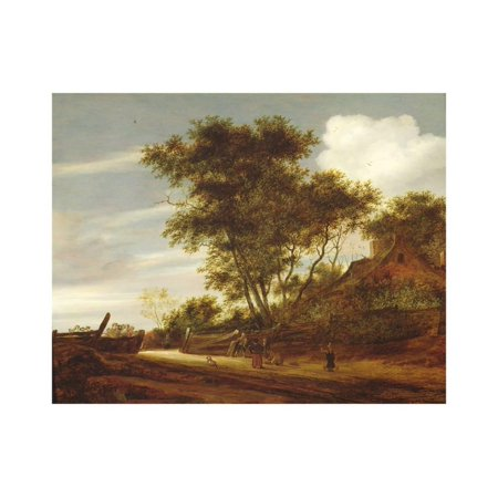 Wooded landscape with children playing on the road by a cottage, 1658 Print Wall Art By Salomon van Ruisdael or Ruysdael