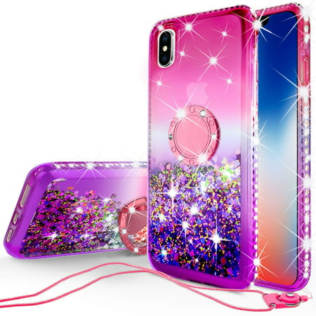 SOGA Rhinestone Liquid Float Quicksand Cover Cute Phone Case Compatible for Apple iPhone Xs Max 6.5 Case with Embedded Metal Diamond Ring for Magnetic Car Mounts and Lanyard - Purple on Pink - Matx Cube Case