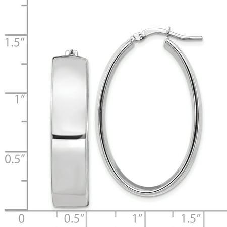 Leslies 14k White Gold 7.75mm High Polished Oval Hoop Earrings - image 1 de 2