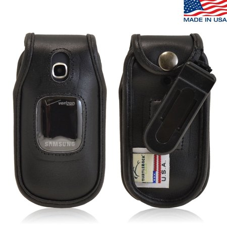 Turtleback Samsung Gusto 3 Executive Black Leather Case Flip Phone Case With Ratcheting Belt Clip   Made In Usa