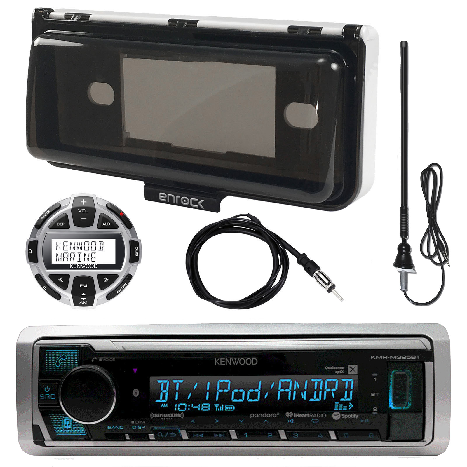 "Kenwood Marine Digital Media Bluetooth Receiver, Enrock Marine Single Din Radio Dash Protector (Black), Enrock AM/FM Antenna (Black), Wired Remote, Antenna - 40 """