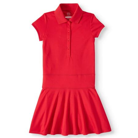 Wonder Nation Girls School Uniform Performance Polo Dress (Little Girls & Big