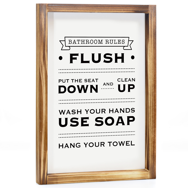 Brush and Always Flush Bathroom Rules Wash Print Funny Toilet Wall Decor Art