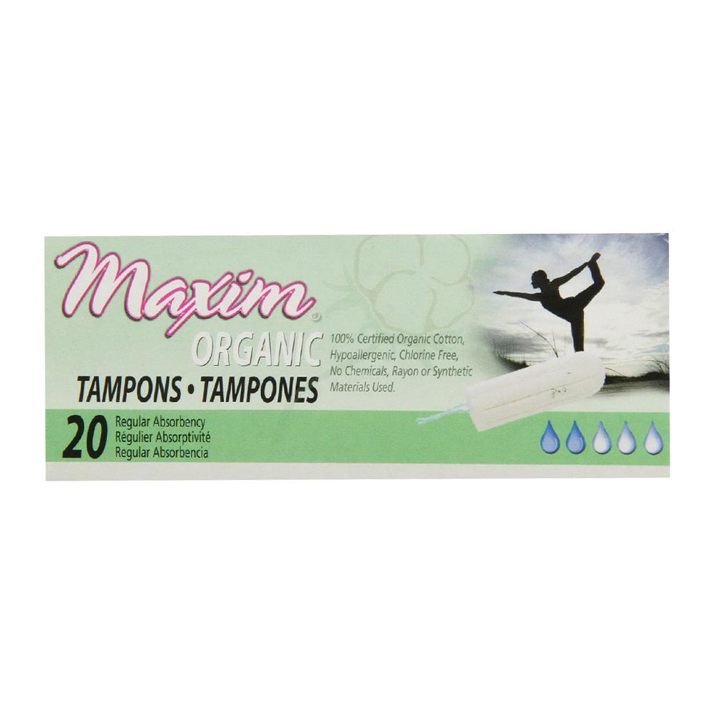 Maxim Organic Non Applicator Cotton Tampons, Regular - 20 Ea