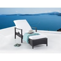 Outdoor Patio Chaise Lounge Brown Wicker Off-White Cushion Padding Adjustable Backrest Vasto