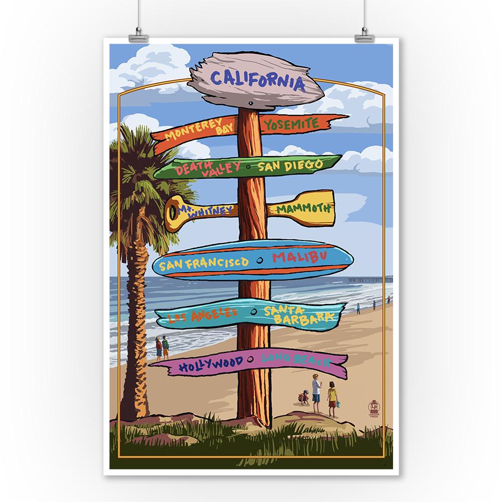 California - Destination Sign - Lantern Press Poster (9x12 Art Print, Wall Decor Travel Poster)
