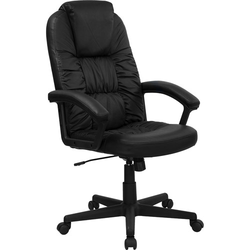 flash furniture leather executive office chair with arms, black