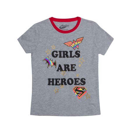 Wonder Woman, Supergirl, and Batgirl Logos Glitter Graphic T-Shirt (Little Girls & Big Girls)