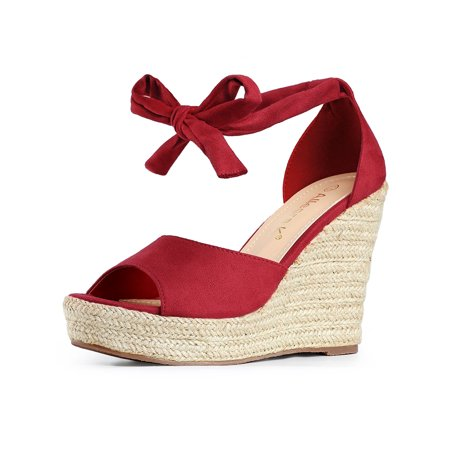 Women's Espadrilles Tie Up Ankle Strap Wedges Sandals Red (Size 7)](Cheese Wedge Costume)