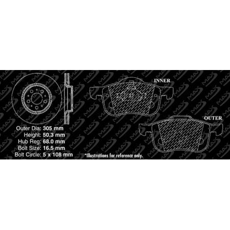 Max Brakes Front Performance Brake Kit [ Premium Slotted Drilled Rotors + Metallic Pads ] TA010331 | Fits: 1999 99 2000 00 2001 01 2002 02 2003 03 Volvo S80 - image 7 of 8