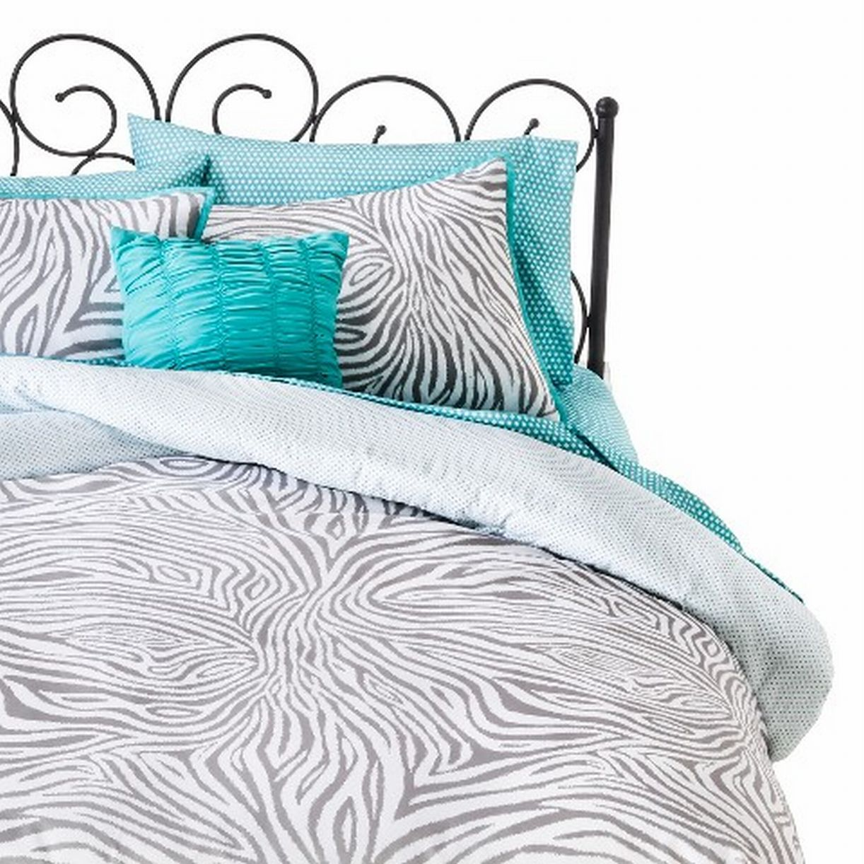 Xhilaration Twin Bed In Bag Gray Zebra Stripe Comforter Sheets Sham & Pillow