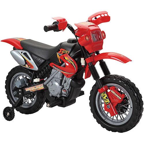 Fun Wheels 6V Battery-Powered Ride-On Dirt Bike, Red