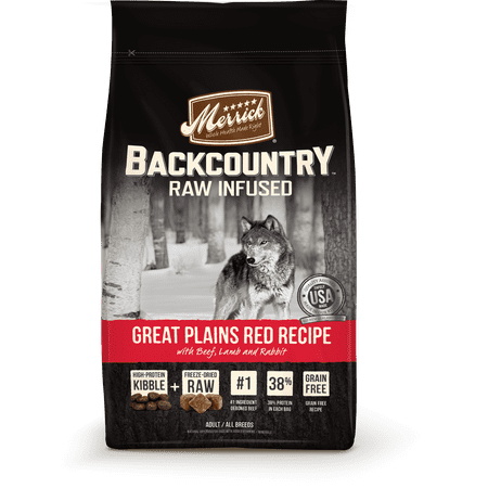 Merrick Backcountry Grain-Free Raw Infused Great Plains Red Recipe Dry Dog Food, 12