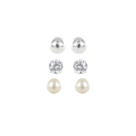 Sterling Silver CZ, Freshwater Pearl and Ball Stud Round Earrings Set, 3 Pairs