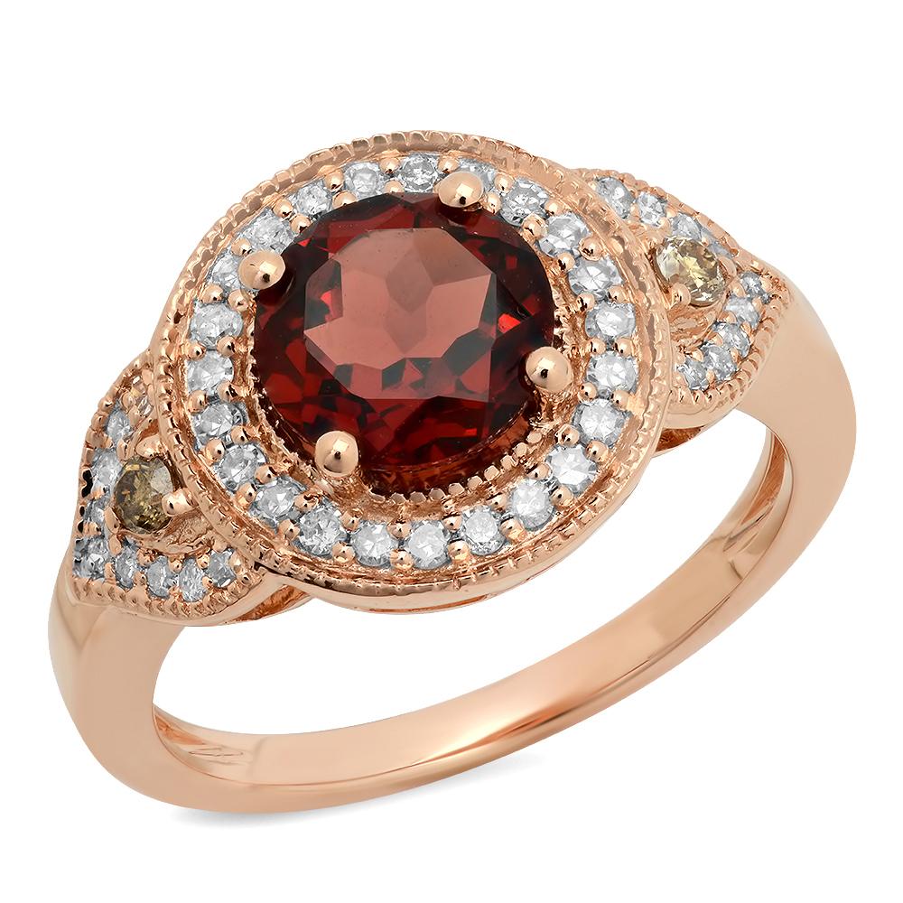 Dazzling Rock 2.30 Carat (ctw) 10K Rose Gold Round Garnet...