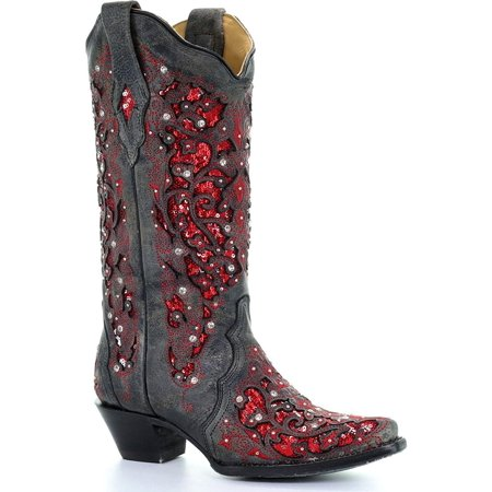 CORRAL Women's Crystal and Sequin Inlay Cowgirl Boot Snip Toe - A3534