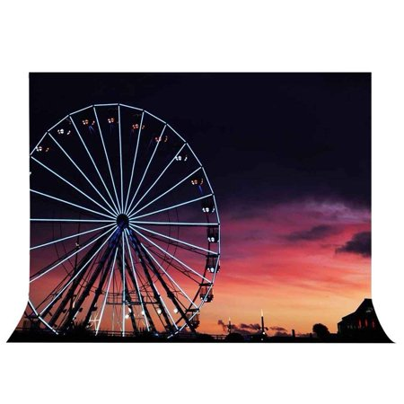 ABPHOTO Polyester 7x5ft Sunset Ferris Wheel Backdrop Photography Studio Photo Props