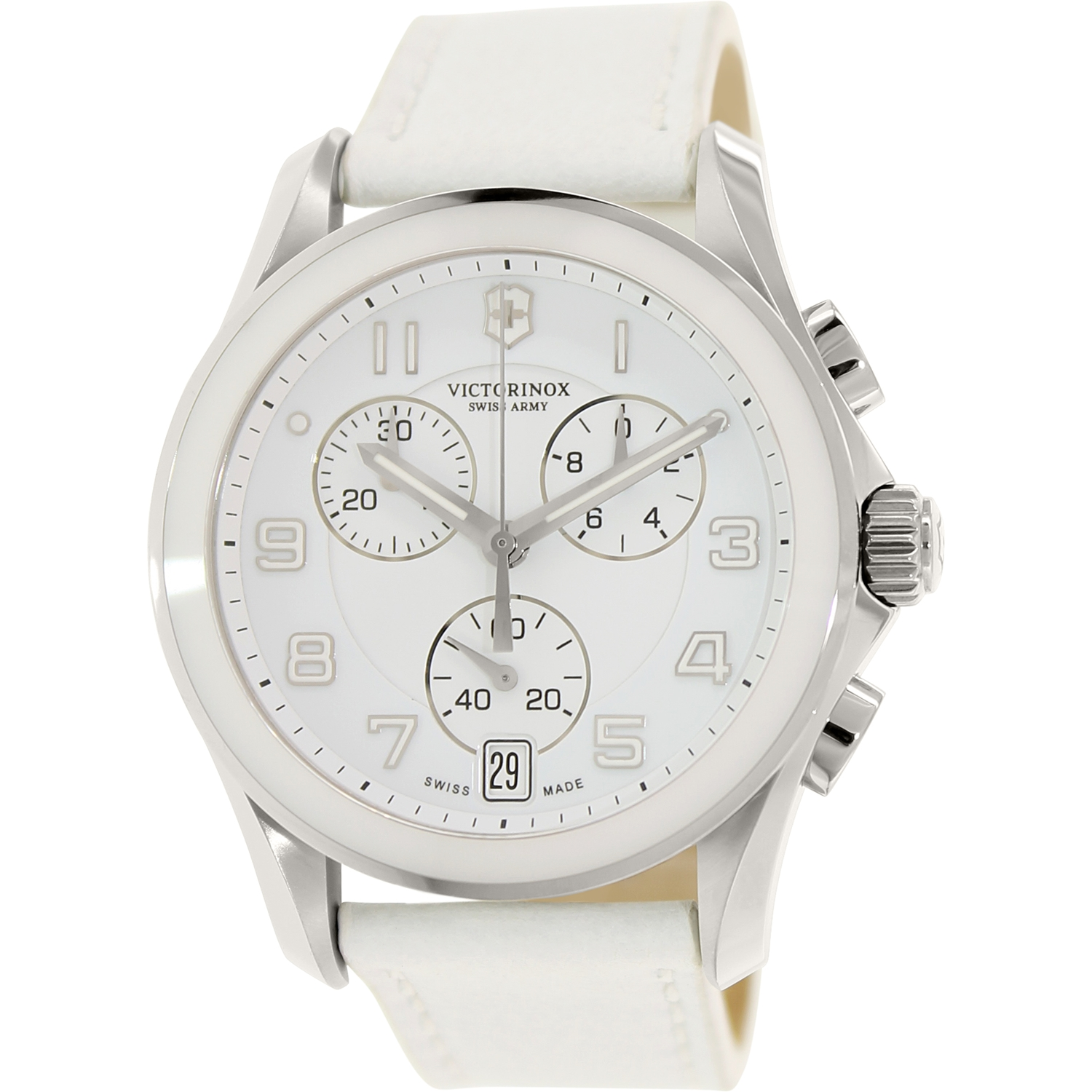 Victorinox Swiss Army Women's Classic 241500 White Leather Swiss Chronograph Watch