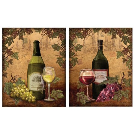- 2 Vintage Tuscan White and Red Wine Bottle and Grape Set; Two 11x14 Poster Prints