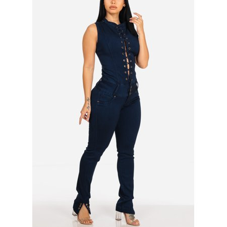 enjoy lowest price 2019 best sell 2019 professional Super Sexy Push Up Womens Juniors Butt Lifting Levanta Cola Jean Dark Wash  Lace-Up Sleeveless Slim Fit Stretchy Bodycon Denim Jumpsuit 10167T