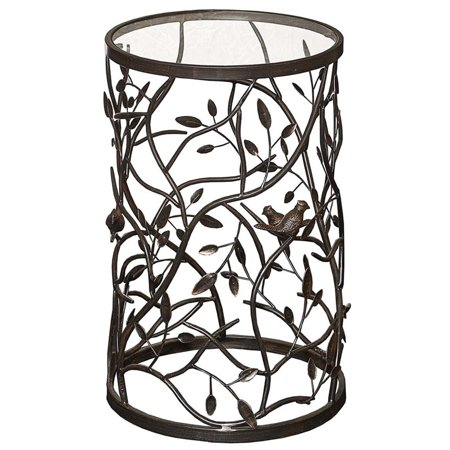 Riverbay Furniture Bird and Branch Round Glass Top Accent Table in Brown ()